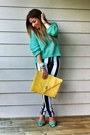 Black-striped-jeans-motel-jordan-jeans-aquamarine-forever-21-sweater