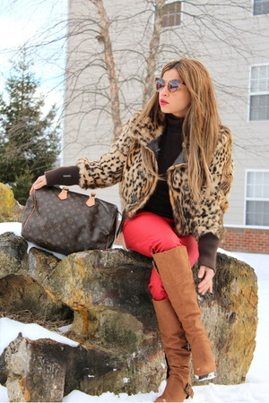 nude faux fur jacket vintage jacket - light brown JustFab boots