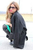 green romwe sweater - black Zara boots - black Forever 21 coat