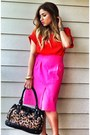 Red-zara-shirt-black-leopard-print-nine-west-bag-hot-pink-zara-skirt