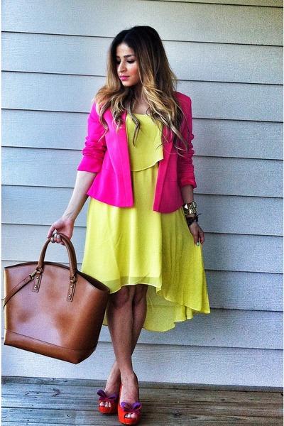 brown Zara bag - yellow asymmetrical Forever 21 dress
