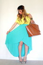 Yellow-zara-shirt-bronze-zara-bag-aquamarine-asymmetrical-forever-21-skirt