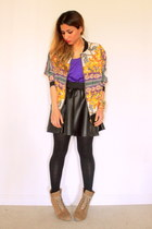 black leather skirt AX skirt - white floral bomber Topshop jacket