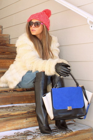 white fur coat asos coat - black Zara boots - bubble gum beanie asos hat