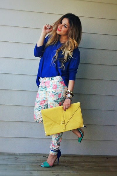 yellow asos bag - blue oversized romwe sweater - white Zara pants