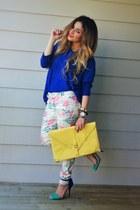 yellow asos bag - blue oversized romwe sweater - white Zara pants