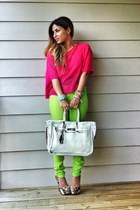 hot pink H&M shirt - lime green Forever 21 pants - white Banane Taipei belt