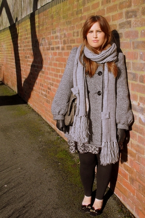 gray River Island scarf - gray Marc B purse - black Topshop gloves - gray Primar
