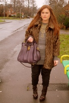 brown River Island coat - gold H&M necklace - gray Topshop sweater - black Topsh