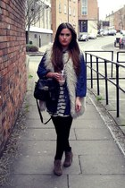 ivory new look jacket - black H&M top - blue Primark shirt - camel asos boots