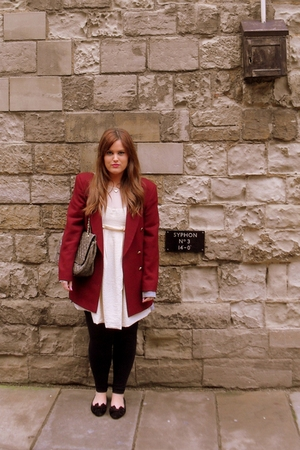 red vintage blazer - white Primark dress - gray Marc B purse