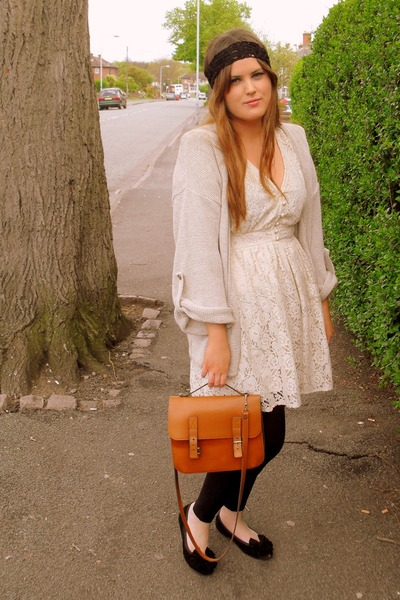 brown vintage purse - beige Topshop cardigan - white Primark dress