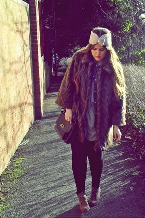 dark brown faux fur River Island coat - beige Topshop shirt - camel asos wedges