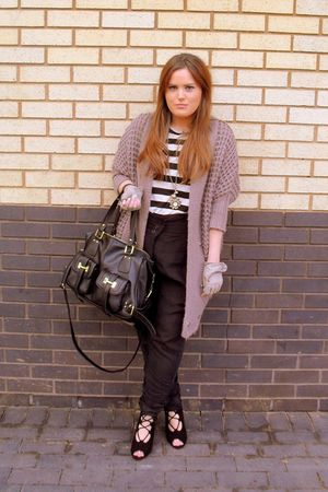 black Office shoes - black Topshop top - warehouse cardigan - gray River Island