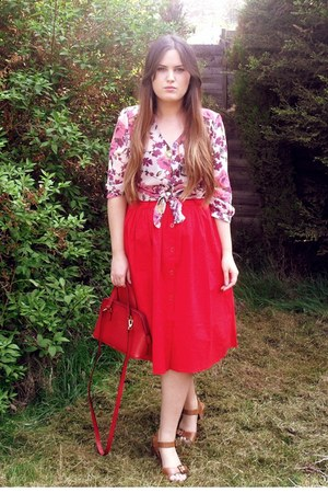 tawny Topshop shoes - red thrifted bag - red vintage skirt - pink Primark blouse