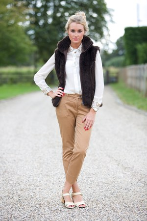 fur gillet jacket - Missguided shirt - chinos Zara pants