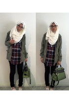olive green JayJays jacket - black JayJays jeans - white scarf