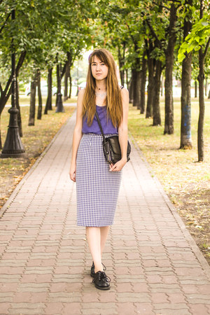 violet new look skirt - black Shellys London boots - violet Per Una top