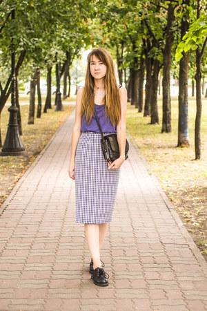 violet new look skirt - black Shellys London boots - violet Per Una top