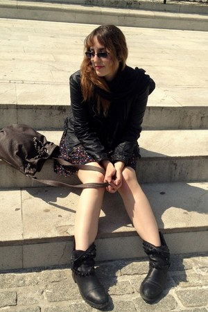 leather Zara boots - cotton H&M dress - leather Zara jacket - leather Zara bag