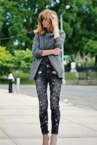 charcoal gray H&M jacket - black Zara jeans