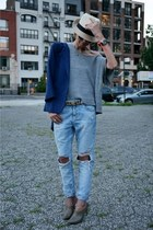army green Zara shoes - light blue Zara jeans - neutral Forever 21 hat