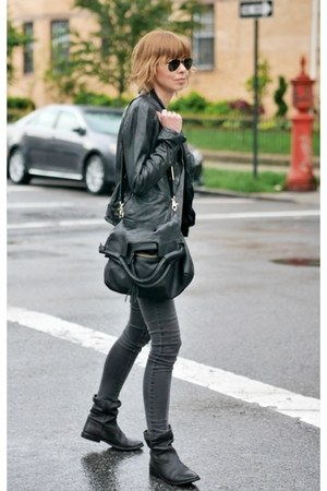 black leather Isabel Marant boots - charcoal gray skinny James jeans