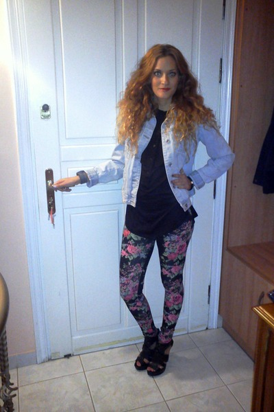 light blue Zara jacket - bubble gum BLANCO leggings - black H&M shirt