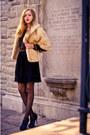 Black-chiffon-beaded-topshop-dress-beige-mink-fur-vintage-cape