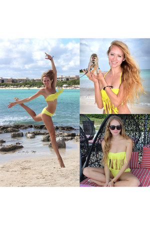 yellow fringe Roxy swimwear