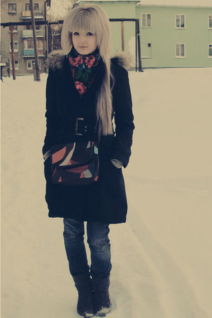 black Ugg boots - teal denim skinny Aeropostale jeans - black pea coat from mom 