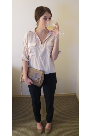 silk Rory Beca shirt - leather Rebecca Minkoff purse - silk Theory pants
