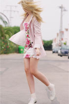 pink Zara blazer - beige BLANCO shoes - white Primark dress