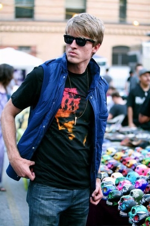 Hot Air Brand t-shirt - Hot Air Brand vest - Ray Ban sunglasses - Heritage jeans
