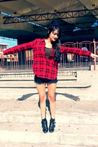 black crop top Forever 21 top - ruby red checkered Forever 21 shirt