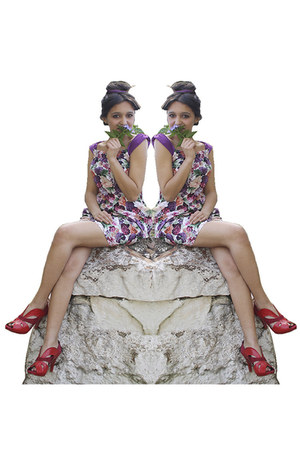 leather-suede Manik your Design shoes - flowers Inoui dress