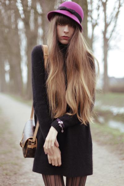 hot pink asos hat - black Topshop boots - black COS sweater - black falke tights