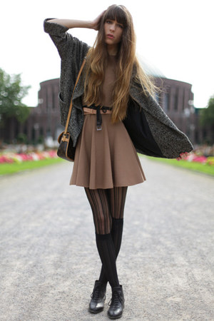 camel COS dress - brown Mango coat - black falke tights