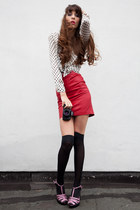 red leather vintage skirt - ivory silk Zara blouse