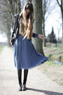 Sky-blue-vintage-marc-jacobs-dress-black-leather-burberry-jacket