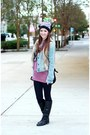 Black-beanie-michael-kors-hat-light-blue-denim-abercrombie-and-fitch-jacket