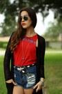 Red-diy-sublime-vintage-shirt-black-suede-platform-urban-og-boots