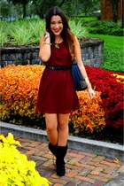 crimson chiffon H&M dress - black Forever 21 boots - black spiked Bellaluca bag