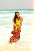 yellow feather Forever 21 dress - red volcanic rock Artisan necklace
