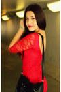 Red-ustrendy-dress-black-spiked-urban-og-boots-black-faux-fur-h-m-bag