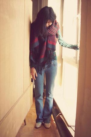 H&M scarf - blue low hip bootcut Armani Exchange jeans