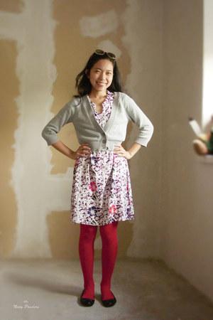 red red tights - batik dress - periwinkle cropped Mango cardigan