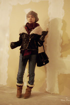 ethnic - boho vintage boots - jeans - beanies H&M hat - faux leather jacket