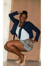 Navy-blue-jacket-mint-shirt-tribal-skirt-nude-pumps