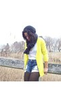 Yellow-xxi-cardigan-black-h-m-boots-black-cole-haan-bag-blue-xxi-shorts